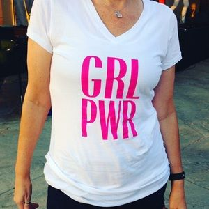 "V-Neck Graphic T-Shirt ""GRL PWR"""
